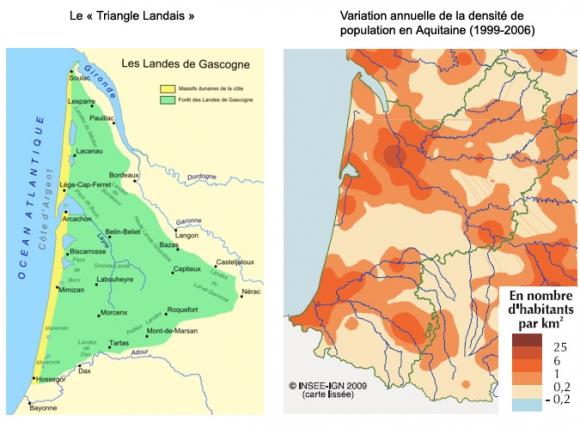 evolution population landes france